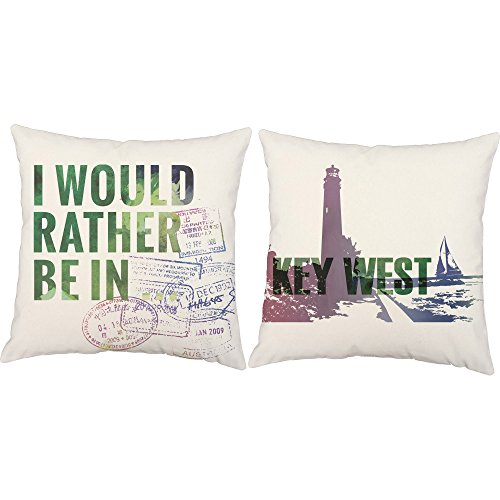 Set of 2 RoomCraft I'd Rather Be In Key West Throw Pillow Covers 18x18 Square White Indoor-Outdoor Travel Destination - Florida Stores West Key