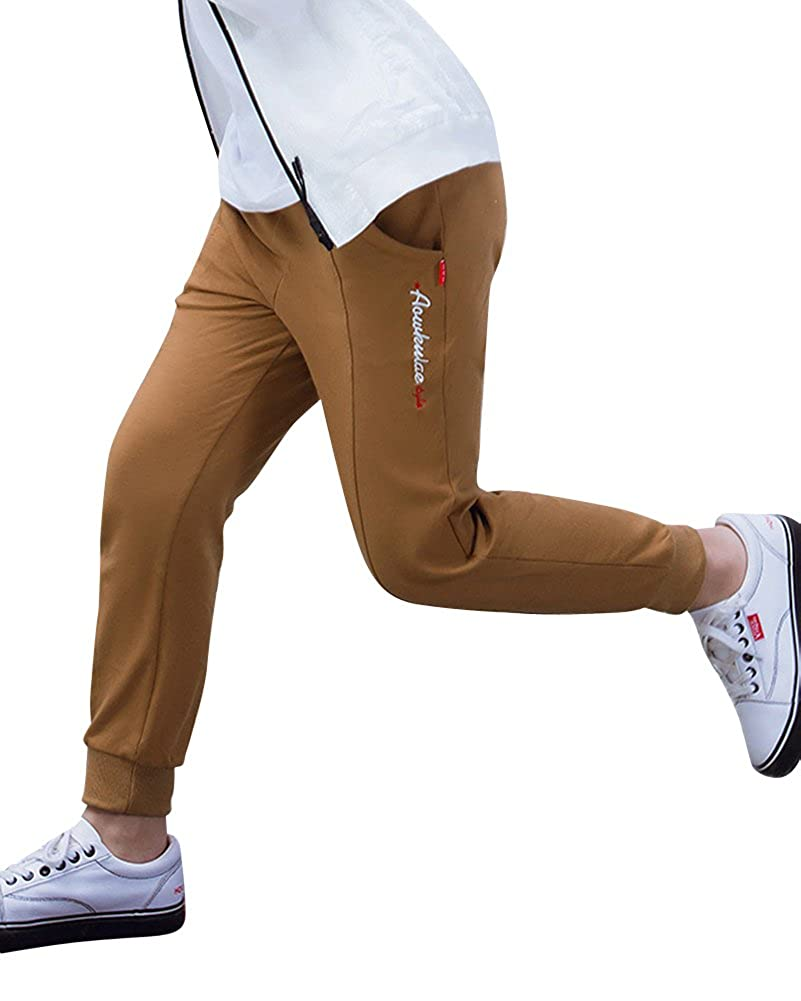 DianShao Boys Slim Cuffed Jogging Bottoms Elasticated Waist Casual Full Length Sweatpants