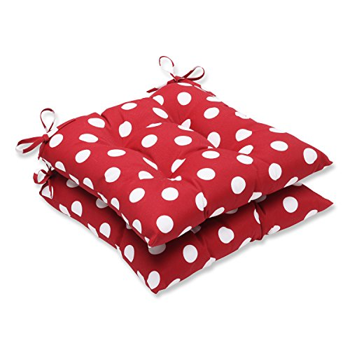 Cushion Polka - Pillow Perfect Indoor/Outdoor Polka Dot Tufted Seat Cushion, Red/White