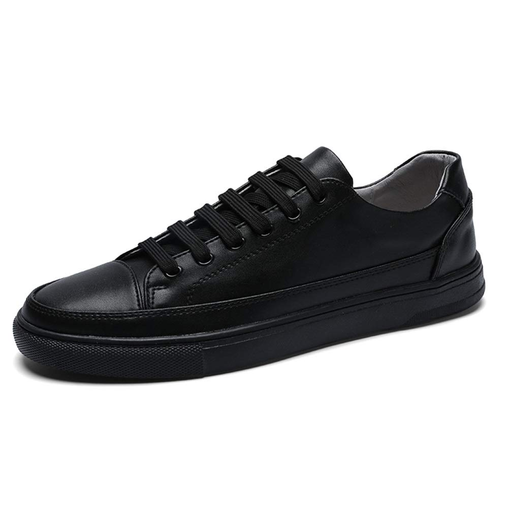 Black JUJIANFU-shoes Simple Pure colors Leather Light Fashion Sneaker for Men Sports shoes Lace Up Style OX Leather