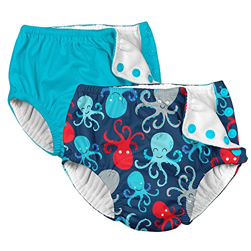 i play. 2PK Absorbent Reusable Toddler Swim Diapers Aqua and Navy Blue Octopus 3T