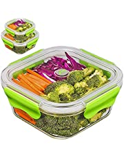 PREMIUM QUALITY(3PACK SET)Tritan Glass Lunch box/Food Storage Containers - Meal Prep Glass Containers set- Reusable Microwave ,Oven, Freezer & Dishwasher Safe BPA Free Lunch Containers with Smart For Snap Locking Tritan Lid Guarantee 100% Airtight Leakproof (Green)