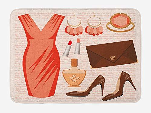 Heels and Dresses Bath Mat, Accessories Fashion Cocktail Dress Lipstick Earrings High Heels, Plush Bathroom Decor Mat with Non Slip Backing, 23.6 W X 15.7 W Inches, Salmon Brown Peach