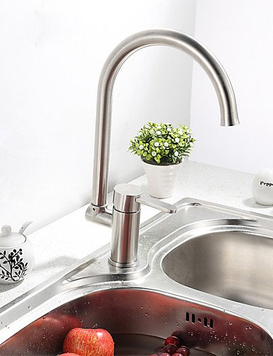 NWMTF 0.5 Deck Mounted Single Handle One Hole Solid Body Stainless Steel Kitchen Faucet K40CF23SS