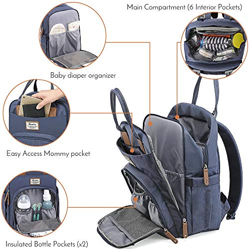 Diaper Bag Backpack, RUVALINO Multifunction Travel Back Pack Maternity Baby Changing Bags, Large Capacity, Waterproof and Stylish, Navy Blue