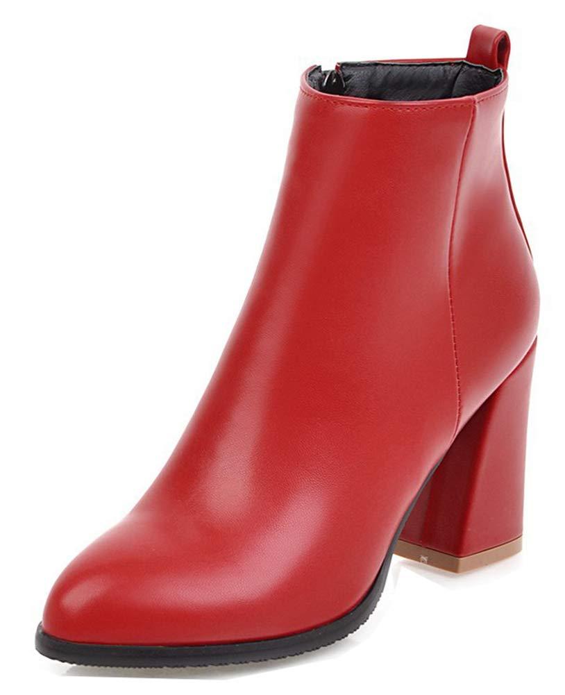 Aisun Mode Femme Mode Chaussures à avec Rouge Talon Haut Evénement Bottines avec Zip Rouge 39c5082 - fast-weightloss-diet.space