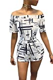 Farktop Women's Printed Tie Back Off Shoulder Black and White Playsuit One Piece Short Jumpsuit Romper
