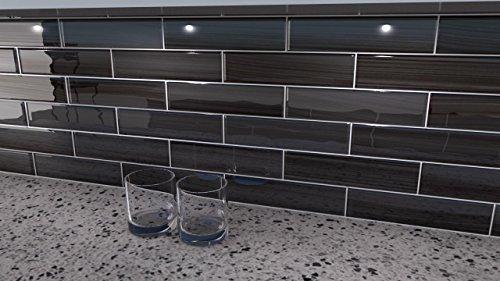 Black And Gray Glass Tile Late Night 3x12 Glass Subway Tile For Kitchen Backsplash Or Bathroom