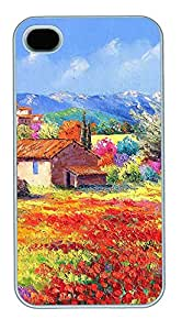 iPhone 4 4s Cases & Covers - French Country Style Painting 03 PC Custom Soft Case Cover Protector for iPhone 4 4s - White