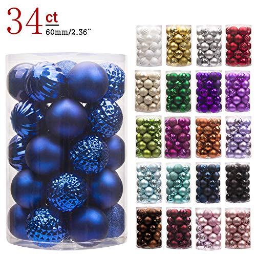 "KI Store 34ct Christmas Ball Ornaments Shatterproof Christmas Decorations Tree Balls for Holiday Wedding Party Decoration, Tree Ornaments Hooks Included 2.36"" (60mm Blue) ()"
