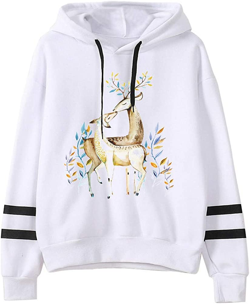 Lazzboy Women Sweatshirt Pullover Hoodie Solid Casual Long Sleeve Striped Comic Pattern Print Loose Jumpers Blouse Tops