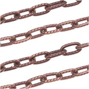 Beadaholique antiqued copper plated textured for Craft chain by the foot