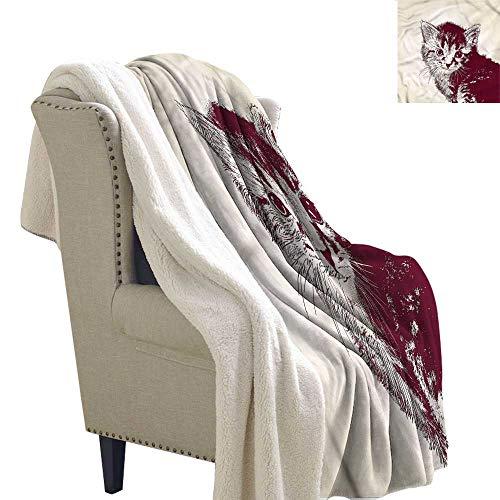 Zodel Lamb Velvet Blanket Cat Grunge Retro Kitty Cat Blanket for Family and Friends W59 x L31 ()