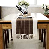 American Rural Fringed Table Runner,College Style Sub-tablecloth,Coffee Table Cloth Decoration Bed Card TV Cabinet Cover Cloth-F 38x220cm(15x87inch)