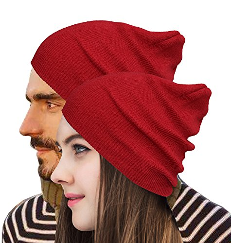 Beanie Warm Comfortable Soft Oversized Thick Cable Knitted Hat Unisex Knit Caps-Burgundy]()