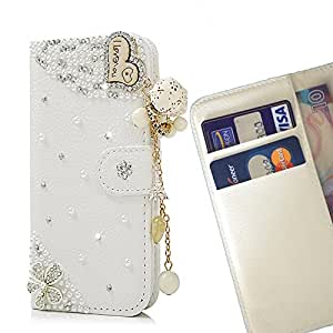 - Heart Love Romantic/ Slot Card Flip Case Cover Skin Bling Rhinestone Crystal Leather - Cao - For LG Optimus F60