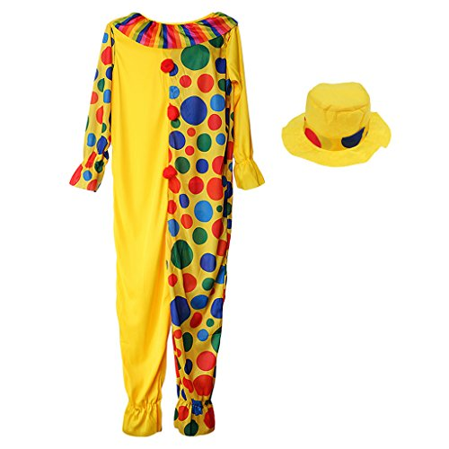 MagiDeal Circus Clown Costume Comedy Dots Kids Outfit Stage Performer Funny Fancy Dress with Hat - Multi, XL