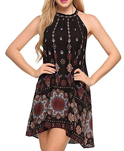 Womens Dress Summer Black Midi Beach Loose Cromoncent Swing Print Sleeveless Boho SwxzCn6qa