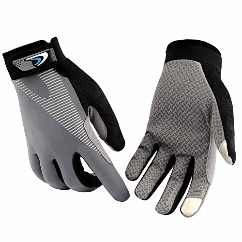 HENDGO Cycling Gloves Lce Silk High Elastic Breathable Silicone Non-Slip,Sunscreen, Breathable, Anti-Static.Outdoor Sports Gloves, Full Finger And Half Finger. (Full Finger-Gray, L)
