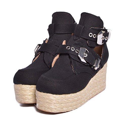 de Negro para Lona Jeffrey negro Campbell 36 Zapatos mujer de vestir ZwxxSFI7q
