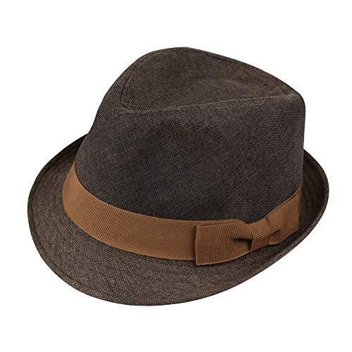 - Vintage Summer Fedora Hat, Linen Timeless Cuban Hat Unisex Short Brim Sun Hat Trilby Jazz Cap (Coffe)