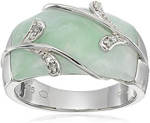 Sterling Silver Green Jade and Diamond Accent Vines Overlay Ring, Size 7