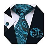DiBanGu Paisley Teal Tie Blue Necktie Handkerchief Woven Floral Tie Pocket Square Set Wedding Business