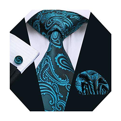 DiBanGu Paisley Teal Tie Blue Necktie Handkerchief Woven Floral Tie Pocket Square Set Wedding Business by DiBanGu