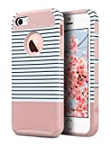 5c ulak full protection - iPhone 5S Case, iPhone 5 Case,iPhone SE Case, ULAK Slim Protection Case Hybrid Scratch Resistant Hard Back Cover Shock Absorbent TPU Bumper Protective Case (Rose Gold Minimal Stripes)