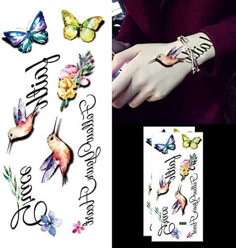 9e7dee2d7 Oottati Inspirational Quote Faith Grace Follow Your Heart - 3D Hummingbirds  Butterfly Clavicle Temporary Tattoo (