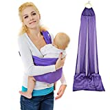 Xcellent Global Baby Wrap Sling Carrier - 100% Polyester, Quick Dry, Comfortable, Lightweight, Breathable & Durable - Suitable for Newborns to 44 lbs, Best Baby Shower Gift, Purple HG121U
