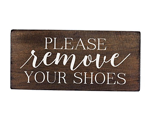 Elegant Signs Please Remove Your Shoes Wood Sign - Made in USA - 6 x 12 inch - Thick Rustic Board -