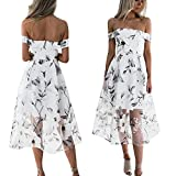 Women Dress,Sexy Off Shoulder Petticoat Floral Printed Maxi Dress Long Skirt Axchongery (White, M)