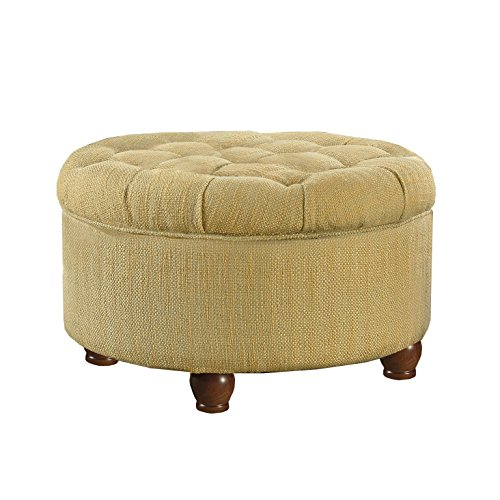 Kinfine Round Tufted Tweed Storage Ottoman, Cream