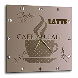 3dRose dpp_123617_2 Cafe Au Lait Coffee Latte Brown Cocoa Kitchen Art Wall Clock, 13 by 13-Inch