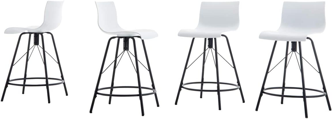 HAOBO Home Modern Industrial Metal Bar Stools Plastic Chair Counter Height Bar Stools Set of 4 for Indoor Outdoor Dining Chair 26 , 07 White