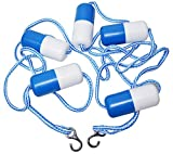 PoolSupplyTown 16' Swimming Pool Safety Divider Rope and Float Line with 2 Pre-Assembled Stainless Hooks (16 FT)