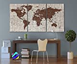 LARGE 30″x60″ 3 Panels Art Canvas Texture Print Map Brown World Cities Push Pin Travel Wall decor Home Office interior (framed 1.5″ depth) Picture