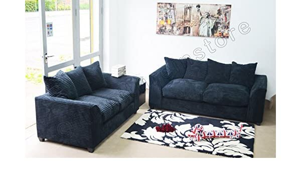 Dylan Byron Black Fabric Jumbo Cord Sofa Settee Couch 3+2 ...