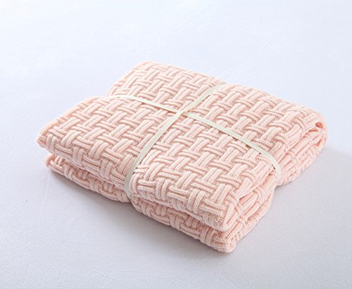 Crochet Blanket, LakeMono Luxury Organic Knitting Throw Blankets Cotton Cable Lightweight Couch Air Conditioning Quilt Fit for Home or Office Sofa Decoration (47