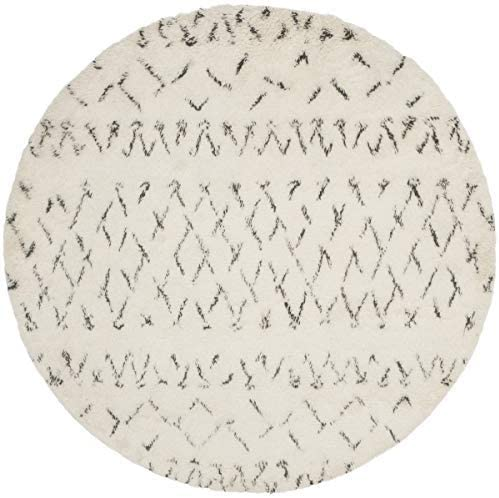 Safavieh Casablanca Shag Collection CSB851B Southwestern Ivory and Grey Premium Wool Cotton Round Area Rug 6' Diameter