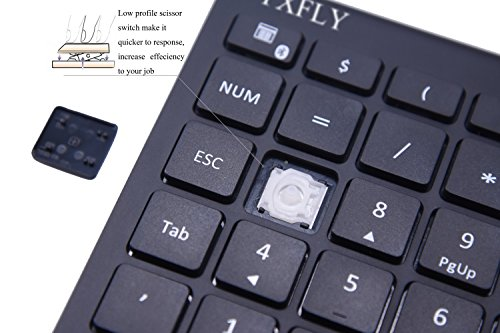 YXFLY Ultra Slim 28 Keys Bluetooth Numeric Keypad, Bluetooth 3.0 Number Pad Scissor-Switch Keypad for Surface Pro Laptop Tablet by YxflY (Image #3)