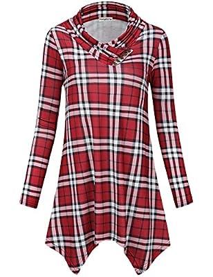 SUNGLORY Women's Cowl Neck Tunic Top Asymmetrical Hemline Plaid Flowy Shirt(FBA)