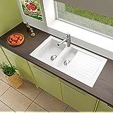 respekta Mineralite Spüle Küchenspüle Spülbecken Einbauspüle Boston 100 x 50 weiß