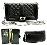 korean cell phone accessories - ZZYBIA Wristlet Clutch 2 way Coin Zip Mobile Case, Card Holder with Detachable Long Chain