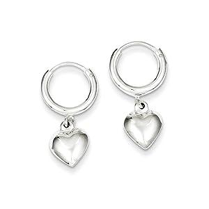 .925 Sterling Silver 25 MM Polished Puff Heart Dangle Endless Hoop Earrings
