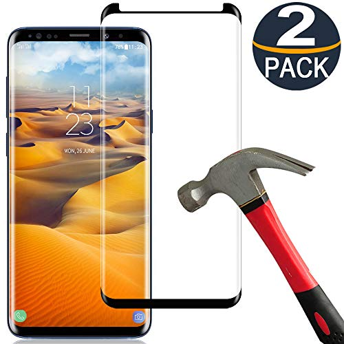 [2 Pack] Samsung Galaxy S8 Plus Screen Protector Tempered Glass Film [Case Friendly][Anti-Bubble][3D Curved][3D Full Coverage] Tempered Glass Screen Protector for Samsung Galaxy S8 Plus (Galaxy S8 Plus Tempered Glass Screen Protector)
