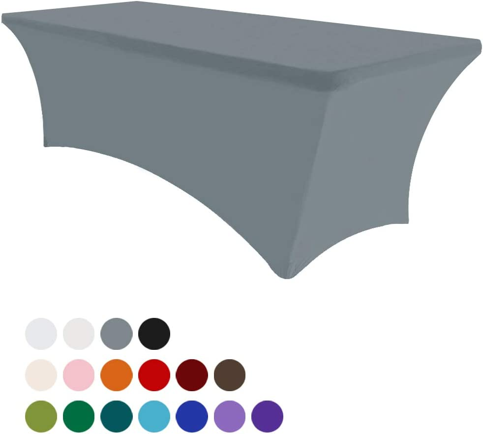 Eurmax 4Ft Rectangular Fitted Spandex Tablecloths Wedding Party Table Covers Event Stretchable Tablecloth Silver Gray
