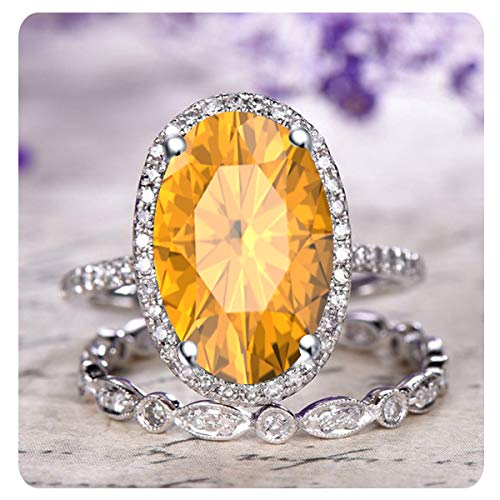 RUDRAFASHION 2.10 Ctw Oval Cut Created Citrine & White Diamond 14k White Gold Over .925 Sterling Silver Engagement Halo Bridal Ring Set for ()