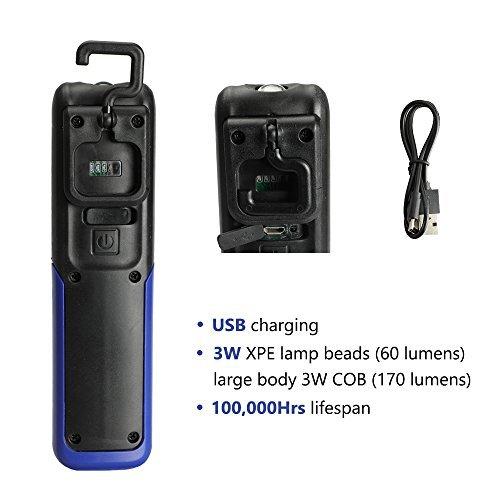 Three trees Lampada da lavoro portatile portatile wireless portatile LED COB con gancio appeso, rack magnetici, (blue)